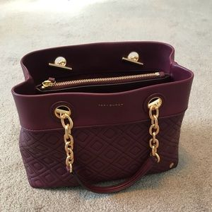 Tory Burch Fleming Small Tote. Plum color